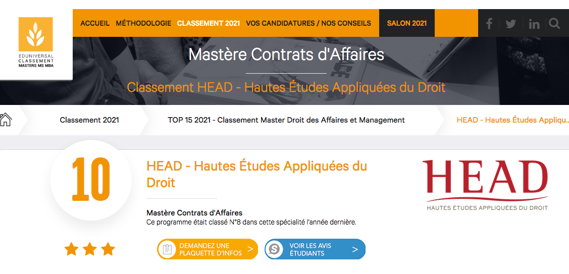 HEAD classement eduniversal contrats