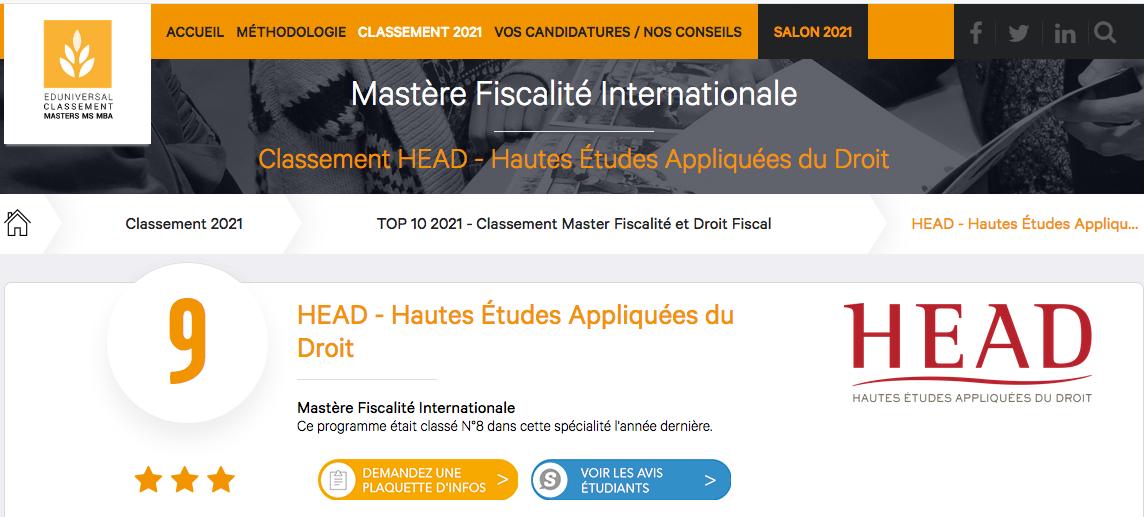 HEAD classement fiscalité