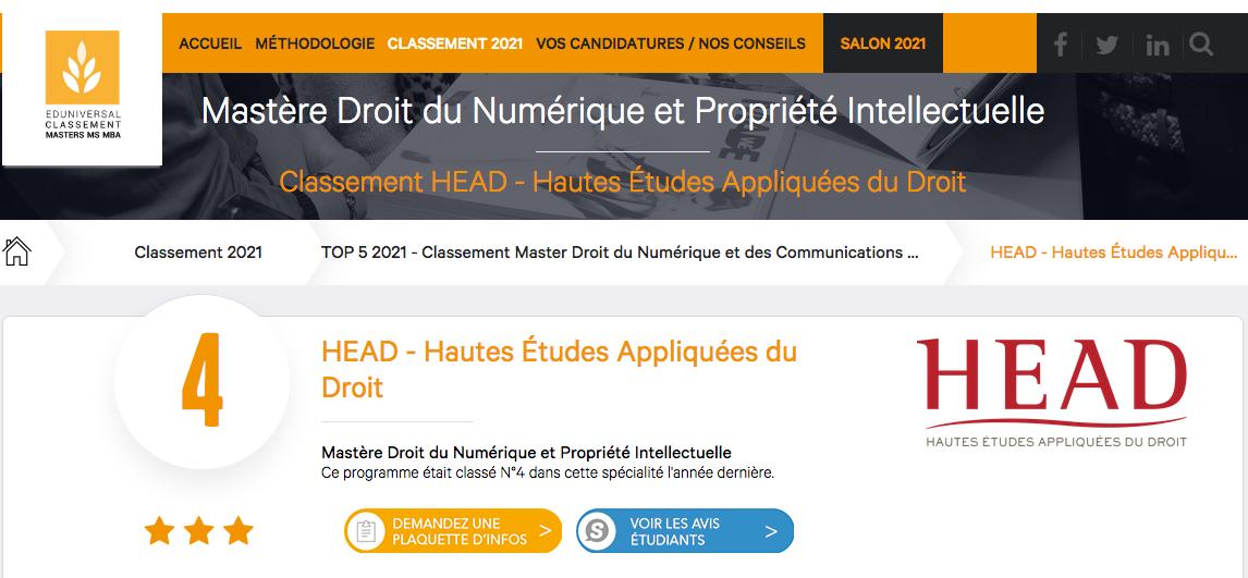 HEAD classement numérique et PI