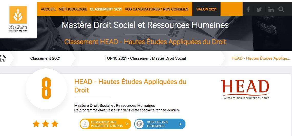 HEAD classement droit social